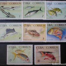 Sellos: CUBA - IVERT 934-41 - SERIE USADA - ACUARIO NACIONAL - PECES DIVERSOS. Lote 147175414