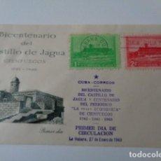 Sellos: FRONTAL. BICENTENARIO DEL CASTILLO DE JAGUA. CIENFUEGOS. PRIMER DIA 1949. DOS SELLOS 1 Y 2 CENTS.. Lote 149550642