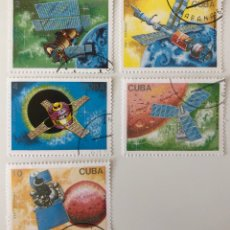 Sellos: LOTE DE 5 SELLOS CTO ORIGINALES DE CUBA- ESPACIO. Lote 152487636