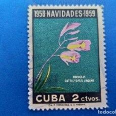 Sellos: SELLO DE CUBA 496. AÑO 1958. NAVIDAD - FLORA - FLORES - ORQUIDEAS.. Lote 156449970