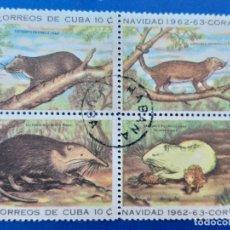 Sellos: SELLO DE CUBA. AÑO 1962 - 63. SERIE DE NAVIDAD. BLOQUE DE 4 SELLOS. MATASELLADA. FAUNA. ANIMALES.. Lote 156450998