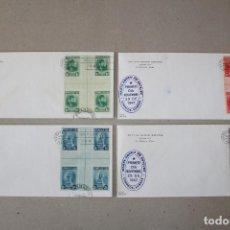 Sellos: CUBA 1947. SCOTT 410/413 SOBRES PRIMER DIA BLOQUE DE CUATRO EN CENTRO DE HOJA: CENT MARTA ABREU. Lote 158729502