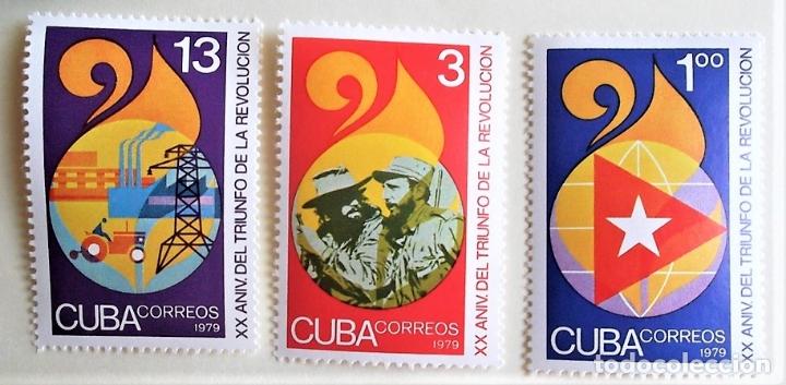 CUBA. 2090/92 ANIVERSARIO TRIUNFO DE LA REVOLUCIÓN. 1979. SELLOS NUEVOS Y NUMERACIÓN YVERT (Sellos - Extranjero - América - Cuba)