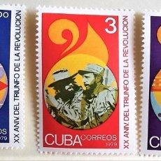 Sellos: CUBA. 2090/92 ANIVERSARIO TRIUNFO DE LA REVOLUCIÓN. 1979. SELLOS NUEVOS Y NUMERACIÓN YVERT. Lote 172568595