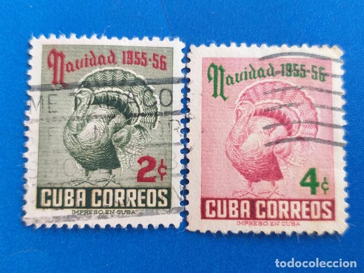 SELLO DE CUBA. AÑO 1955 - 56. YVERT 431 - 432. USADO. SERIE COMPLETA. NAVIDAD. FAUNA. AVES. (Sellos - Extranjero - América - Cuba)