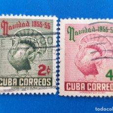 Sellos: SELLO DE CUBA. AÑO 1955 - 56. YVERT 431 - 432. USADO. SERIE COMPLETA. NAVIDAD. FAUNA. AVES.. Lote 172841645