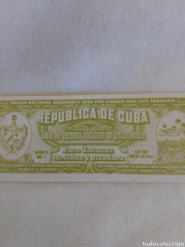 Sellos: Sello de garantía nacional de procedencia para tabacos República de Cuba - Foto 2 - 177651007