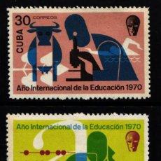 Selos: CUBA, 1970 YVERT Nº 1448 / 1449 /**/, ANIVERSARIO DE LA EDUCACIÓN . Lote 178339476