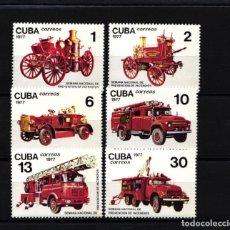 Francobolli: CUBA, 1977 YVERT Nº 2010 / 2015 /**/, CAMIONES DE BOMBEROS, . Lote 178362102