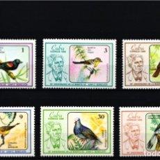 Selos: CUBA, 1986 YVERT Nº 2674 / 2679 /**/, AVES / PERSONAJES FAMOSOS. Lote 178382367