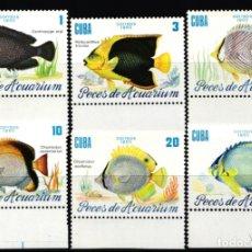 Selos: CUBA, 1985 YVERT Nº 2645 / 2650 /**/, PECES DE ACUARIO . Lote 178383273