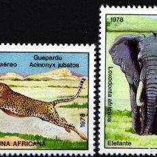 Selos: CUBA, AÉREO 1978 YVERT Nº 304 / 305 /**/, FAUNA, ELEFANTES / GUEPARDO. . Lote 178390285