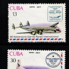 Francobolli: CUBA, AÉREO 1977 YVERT Nº 265 / 266, AVIONES / 50 ANIVERSARIO DEL SERVICIO DE CORREO AÉREO CUBANO. Lote 178562691