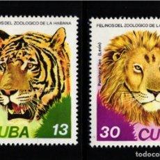 Selos: CUBA, AÉREO 1977 YVERT Nº 267 / 268, FAUNA / FELINOS, LEÓN , TIGRE. . Lote 178563070