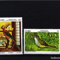 Selos: CUBA, AÉREO 1978 YVERT Nº 276 / 277 /**/ AVES, GORRIÓN CUBANO, GUACAMAYO CUBANO, . Lote 178564302