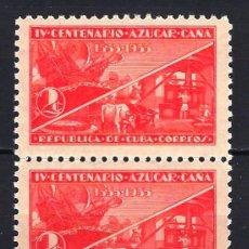 Timbres: CUBA 1937 - IV CENTENARIO AZUCAR CAÑA - MICHEL 129 - YVERT 237 - MLH* NUEVOS BLOQUE DE 2. Lote 179057286