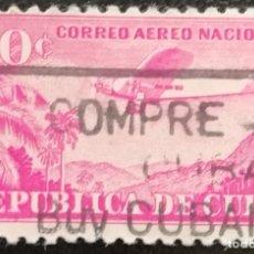 Sellos: 1946. AVIONES. CUBA. A 37. SIERRA CUBITAS. MATASELLO CAMPAÑA 'COMPRE AZÚCAR CUBANO'. USADO.. Lote 182576142