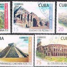 Sellos: CUBA Nº 4975/81, LAS SIETE NUEVAS MARAVILLAS DEL MUNDO, USADO. Lote 184797155
