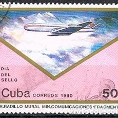 Sellos: CUBA Nº 3389, DIA DEL SELLO 1990, USADO. Lote 184856761