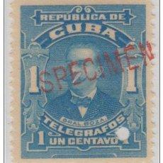 Sellos: 1911-33. CUBA REPUBLICA TELEGRAFOS. ED.92. MNH 1C. B. BOZA SPECIMEN PROOF. Lote 185667682