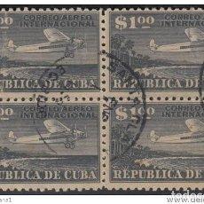 Sellos: 1931.3 CUBA. 1931. ED.262. 1$. USED. CORREO AEREO. AIR MAIL. AVION AIRPLANE. BLOCK 4.. Lote 185667726
