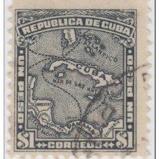 Sellos: 1914-49 CUBA 1914 REPUBLICA ED.202 1$ MAPA DE CUBA. MAP. USED.. Lote 185668572