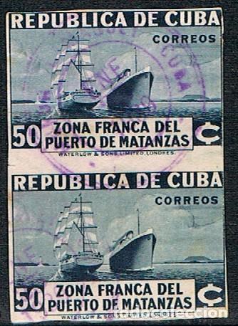 CUBA Nº 112 (AÑO 1936), APERTURA DE LA ZONA LIBRE DEL PUERTO DE MATANZAS, PAREJA SIN DENTAR, USADO (Sellos - Extranjero - América - Cuba)