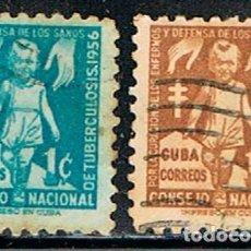 Sellos: CUBA, PRO TUBERCULOSOS 1955, USADOS. Lote 186235817