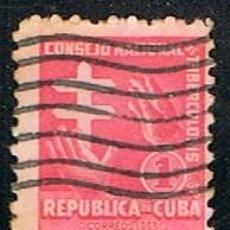 Sellos: CUBA, PRO TUBERCULOSOS 1955, USADO. Lote 186235897
