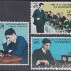 Sellos: 2018.114 CUBA MNH 2018. ANIV NACIMIENTO DE JOSE RAUL CAPABLANCA, CHEES, AJEDREZ.. Lote 253900980