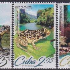 Selos: 2019.61 CUBA 2019 MNH GEOGRAFIA Y AVES BIRD TOMEGUIN LIZARD FROG RANA BAYOYA IGUANA.. Lote 187382228