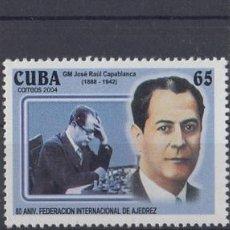 Sellos: 2004.1 CUBA MNH 2004. 80 ANIV FEDERACION DE AJEDREZ CHE GUEVARA JOSE RAUL CAPLANCA MARIA TERESA MORA. Lote 253901020