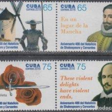 Francobolli: 2016.74 CUBA 2016 MNH. 400 ANIV NATALICIO WILLIAN SHAKESPEARE Y MIGUEL DE CERVANTES. ESPAÑA INGLATER. Lote 188552263