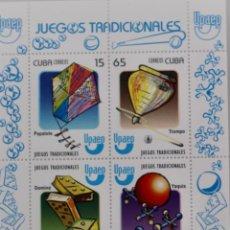 Sellos: JUEGOS TRADICIONALES,HOJITA BLOQUE DE 4. Lote 189140490