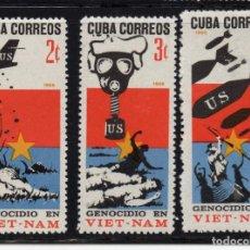 Sellos: CUBA 1047/49** - AÑO 1966 - GUERRA DE VIETNAM. Lote 189771001