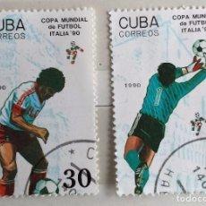 Sellos: CUBA, LOTE DOS SELLOS MATASELLADOS DE FUTBOL ITALIA 90. Lote 190105256