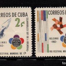 Sellos: CUBA 597/98** - AÑO 1962 - FESTIVAL MUNDIAL DE LA JUVENTUD Y LOS ESTUDIANTES. Lote 191424616