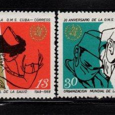 Sellos: CUBA 1207/08** - AÑO 1968 - 20º ANIVERSARIO DE LA ORGANIZACION MUNDIAL DE LA SALUD. Lote 191424630