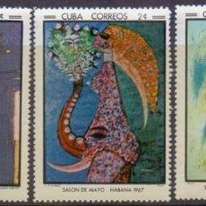 Sellos: CUBA 1967 MNH SALON DE MAYO SET + SOUVENIR SHEET VERY RARE MNH. Lote 207262897