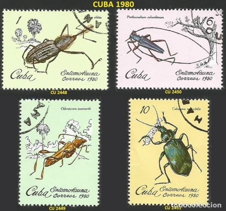 CUBA 1980 - CU 2448 A 2451 - 4 SELLOS NUEVOS - TEMA INSECTOS (Sellos - Extranjero - América - Cuba)