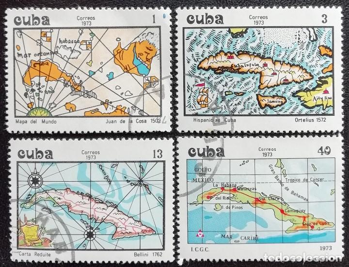 1973. CUBA. 1725 / 1728. CARTOGRAFÍA DE LA ISLA DE CUBA. SERIE COMPLETA. USADO. (Sellos - Extranjero - América - Cuba)