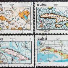 Sellos: 1973. CUBA. 1725 / 1728. CARTOGRAFÍA DE LA ISLA DE CUBA. SERIE COMPLETA. USADO.. Lote 194183220