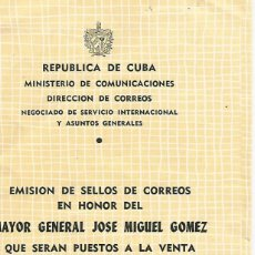 Sellos: REPÚBLICA DE CUBA.EMISIÓN ESPECIAL.AÑO 1958.ESCASO DOCUMENTO FILATÉLICO.. Lote 194294028