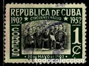 CUBA SCOTT: 0475-(1952) (DECLARACION DE INDEPENDENCIA) USADO (Sellos - Extranjero - América - Cuba)