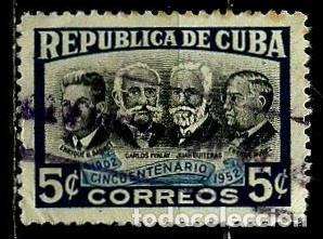CUBA SCOTT: 0477-(1952) (ENRIQUE BARNET, CARLOS FINLAY, JUAN GUITERAS, ENRIQUE NUŃEZ) USADO (Sellos - Extranjero - América - Cuba)