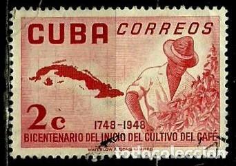 CUBA SCOTT: 0482-(1952) (BICENTENARIO DEL CULTIVO DE CAFÉ) USADO (Sellos - Extranjero - América - Cuba)