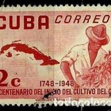 Sellos: CUBA SCOTT: 0482-(1952) (BICENTENARIO DEL CULTIVO DE CAFÉ) USADO. Lote 195321106