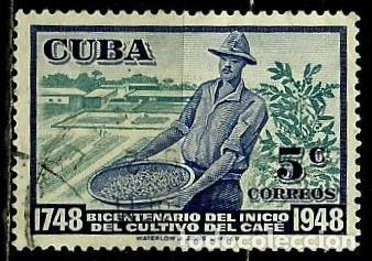 CUBA SCOTT: 0483-(1952) (BICENTENARIO DEL CULTIVO DE CAFÉ) USADO (Sellos - Extranjero - América - Cuba)