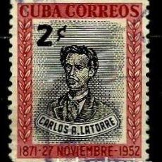 Sellos: CUBA SCOTT: 0491-(1952) (CARLOS A. LATORRE) USADO. Lote 195321506