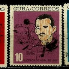 Sellos: CUBA SCOTT: 0822/24-(1964) (M. SALADO - O. LUCERO - S. GONZALEZ) USADO. Lote 195505926